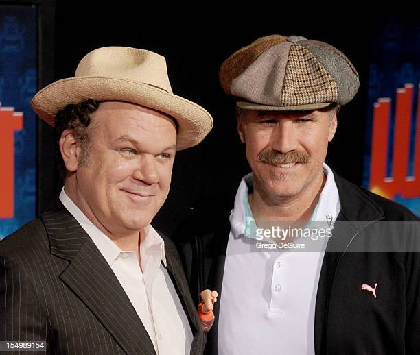 Actors John C Reilly and Will Ferrell arrive at the Los Angeles premiere of 'WreckIt Ralph' at the El Capitan Theatre on October 29 2012 in Hollywood...