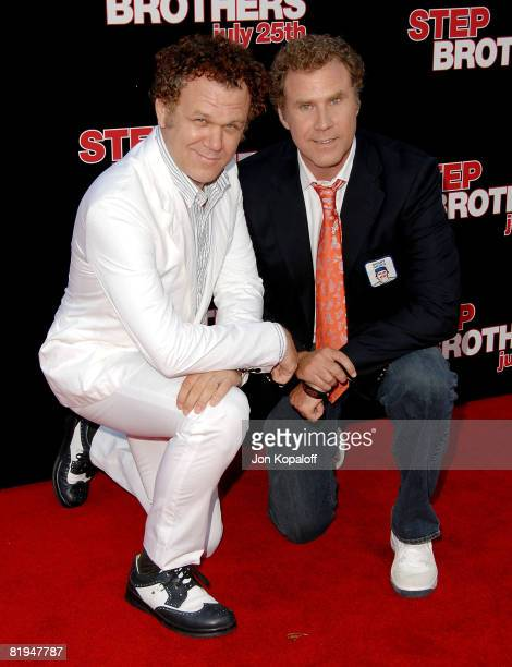 """Actors John C. Reilly and Will Ferrell arrive at the Los Angeles Premiere """"Step Brothers"""" at the Mann Village Theater on July 15, 2008 in Westwood,..."""