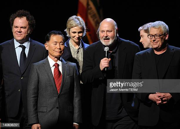 Actors John C Reilly George Takei Jane Lynch director Rob Reiner and Cleve Jones attend the onenight reading of 8 presented by The American...