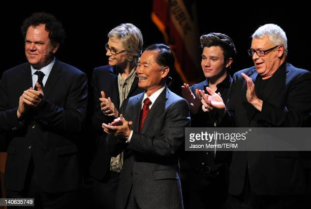 Actors John C Reilly Jane Lynch George Takei Chris Colfer and Cleve Jones onstage during the onenight reading of 8 presented by The American...