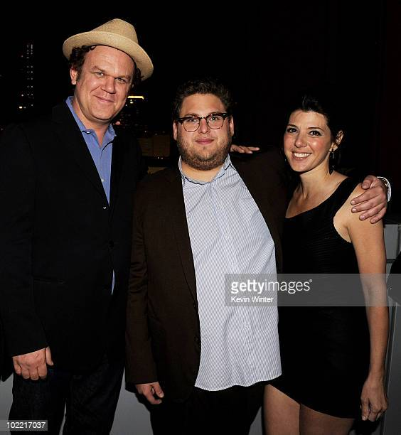 Actors John C Reilly Jonah Hill and Marisa Tomei pose at the afterparty for the premiere of Fox Searchlight Pictures' Cyrus at the Nokia Club Terrace...