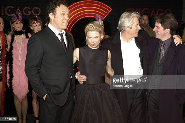 """Actors John C. Reilly, Renee Zellweger, Richard Gere, and director Rob Marshall attend a promotional viewing of the new film """"Chicago"""" at the Cinema..."""