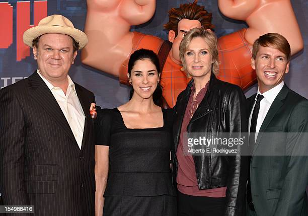 Actors John C Reilly Sarah Silverman Jane Lynch and Jack McBrayer arrive at Walt Disney Animation Studios' WreckIt Ralph premiere at the El Capitan...