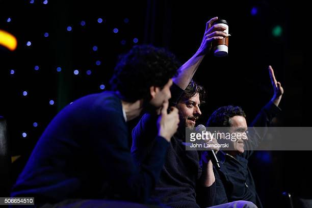 Actors John Cariani Christian Borle and Brian d'Arcy James attend BroadwayCon 2016 at the Hilton Midtown on January 24 2016 in New York City