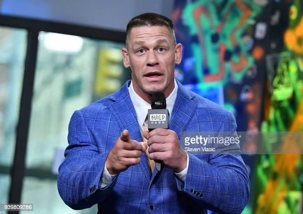 Actors John Cena Geraldine Viswanathan and director Kay Cannon visit Build Studios to discuss their movie Blockers at Build Studio on March 29 2018...