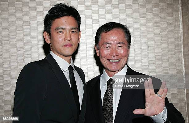 """Actors John Cho and George Takei, each who has portrayed Hikaru Sulu in """"Star Trek,"""" attend the 43rd Anniversary Visionary Awards at the Hilton Los..."""