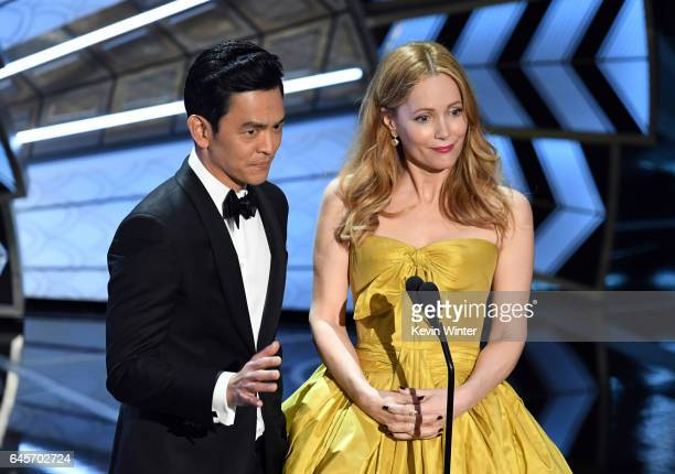 Actors John Cho and Leslie Mann speak onstage during the 89th Annual Academy Awards at Hollywood Highland Center on February 26 2017 in Hollywood...