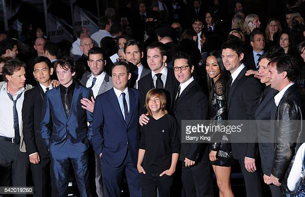 Actors John Cho Anton Yelchin Zachary Quinto Eric Bana Chris Pine and Jimmy Bennett and director JJ Abrams attend the Los Angeles premiere of 'Star...