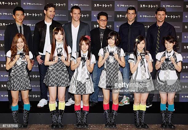 "Actors John Cho, Eric Bana, Chris Pine, Director J.J. Abrams, actors Zachary Quinto and Karl Urban pose with AKB48 during the ""Star Trek"" press..."
