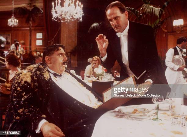 Actors John Cleese and Terry Jones in the 'Mr Creosote' sketch from the film 'Monty Python's The Meaning of Life' 1983