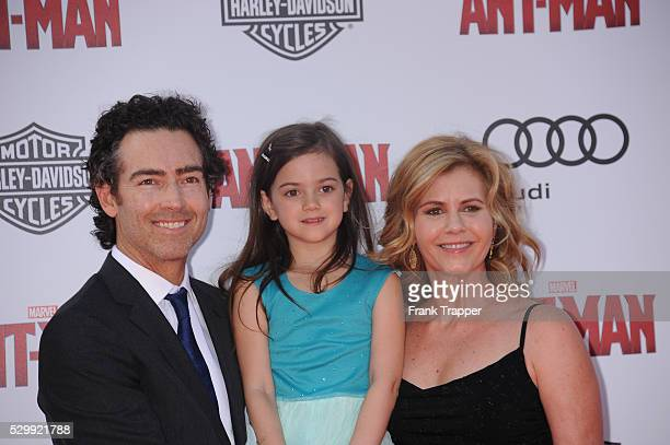 Actors John Fortson Abby Ryder Fortson and Christie Lynn Smith arrive at the premiere of 'Ant Man' held at the Dolby Theater in Hollywood