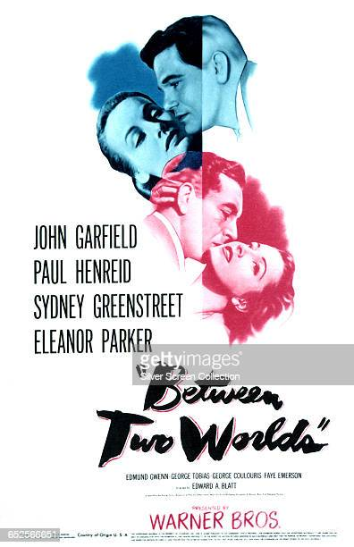 Actors John Garfield Paul Henreid and Eleanor Parker appear on a poster for the Warner Bros World War II film 'Between Two Worlds' 1944