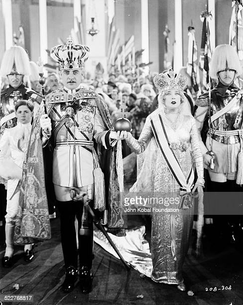 Actors John Gilbert and Mae Murray in a scene from the movie 'The Merry Widow' for MGM Studios 1925