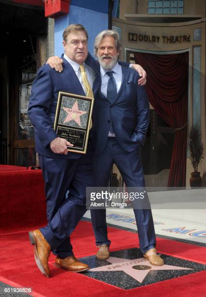 Actors John Goodman and Jeff Bridges at John Goodman's Star Ceremony held On The Hollywood Walk Of Fame on March 10 2017 in Hollywood California