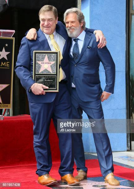 Actors John Goodman and Jeff Bridges attend a ceremony honoring John Goodman with the 2604th Star on The Hollywood Walk of Fame on March 10 2017 in...