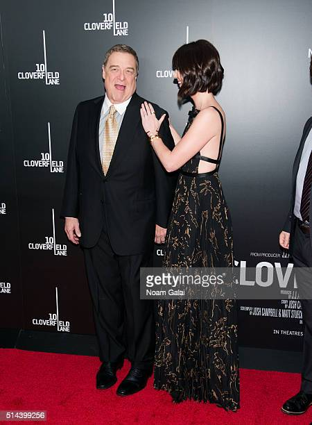 Actors John Goodman and Mary Elizabeth Winstead attend '10 Cloverfield Lane' New York premiere at AMC Loews Lincoln Square 13 theater on March 8 2016...
