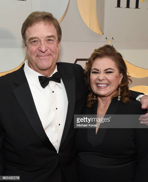 Actors John Goodman and Roseanne Barr celebrate The 75th Annual Golden Globe Awards with Moet Chandon at The Beverly Hilton Hotel on January 7 2018...