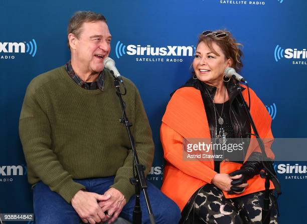 Actors John Goodman and Roseanne Barr speak during SiriusXM's Town Hall with the cast of Roseanne on March 27 2018 in New York City