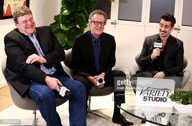 Actors John Goodman Geoffrey Rush and Colin Farrell attend Variety Awards Studio Day 1 at the Leica Gallery and Store on November 20 2013 in West...
