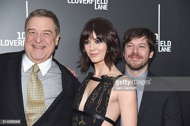Actors John Goodman Mary Elizabeth Winstead and John Gallagher Jr attend the '10 Cloverfield Lane' New York premiere at AMC Loews Lincoln Square 13...