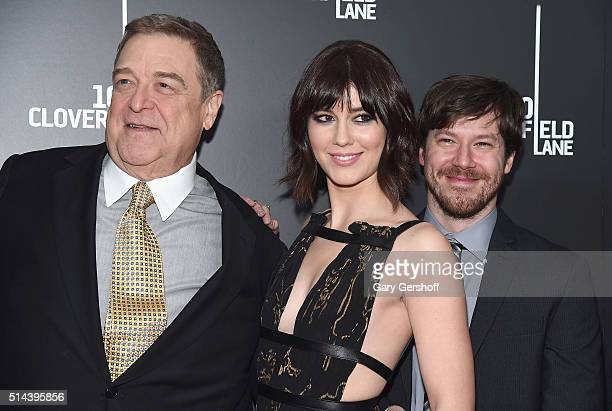 Actors John Goodman Mary Elizabeth Winstead and John Gallagher Jr attend the 10 Cloverfield Lane New York premiere at AMC Loews Lincoln Square 13...