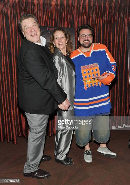 Actors John Goodman Melissa Leo and producer/actor Kevin Smith attend 'The Red State' tour launch at Radio City Music Hall on March 5 2011 in New...