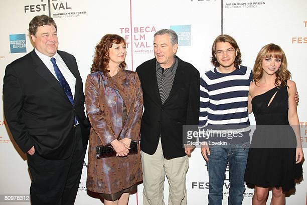 Actors John Goodman Susan Sarandon Robert De Niro Emile Hirsch and Christina Ricci attend the premiere of Speed Racer during the 2008 Tribeca Film...