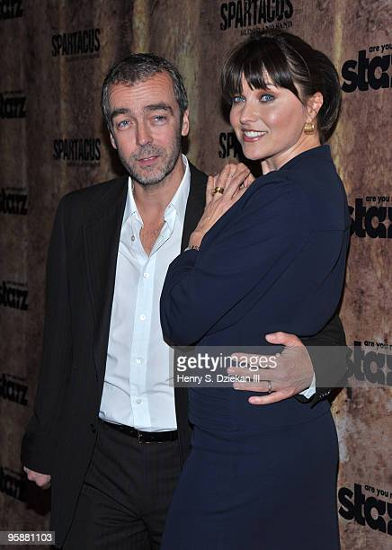 """Actors John Hannah and Lucy Lawless attend the premiere of """"Spartacus: Blood and Sand"""" at the Tribeca Grand Screening Room on January 19, 2010 in New..."""