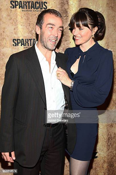 Actors John Hannah and Lucy Lawless attend the premiere of Spartacus Blood and Sand at the Tribeca Grand Screening Room on January 19 2010 in New...