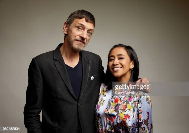 Actors John Hawkes and Charlene de Guzman of the film 'Unlovable' pose for a portrait in the Getty Images Portrait Studio Powered by Pizza Hut at the...