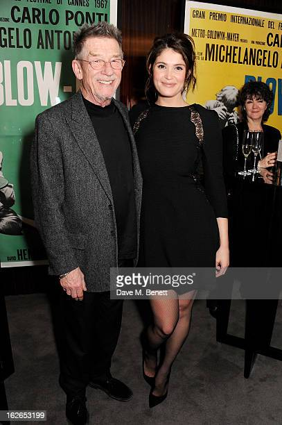 Actors John Hurt and Gemma Arterton attend a VIP screening of 'Byzantium' hosted by the BFI with Gemma Arterton at the Bulgari Hotel on February 25...