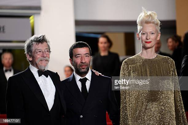 Actors John Hurt Slimane Daz and Tilda Swinton attend the 'Only Lovers Left Alive' premiere during The 66th Annual Cannes Film Festival at the Palais...