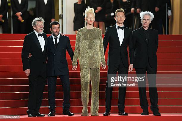 Actors John Hurt Slimane Dazi Tilda Swinton Tom Hiddleston and director Jim Jarmusch attend the Premiere of 'Only Lovers Left Alive' during the 66th...