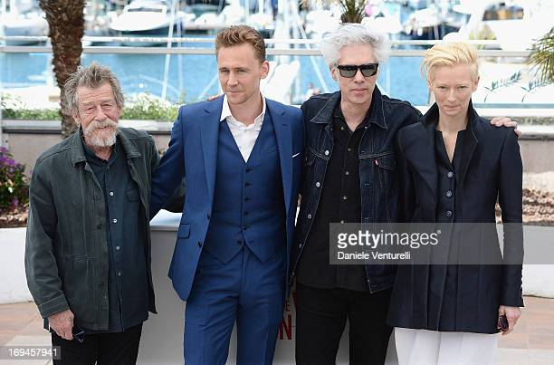 Actors John Hurt Tom Hiddleston director Jim Jarmusch and actress Tilda Swinton attend the photocall for 'Only Lovers Left Alive' at the 66th Annual...