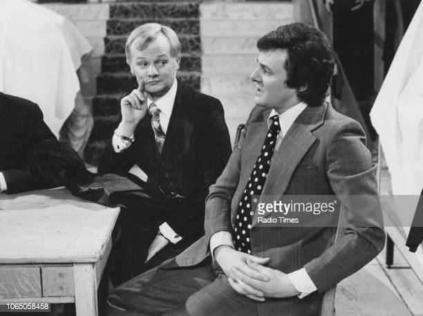 Actors John Inman and Trevor Bannister in a scene from episode 'The New Look' of the television sitcom 'Are You Being Served' February 16th 1975