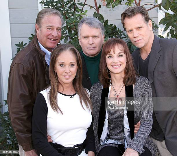 Actors John James Pamela Bellwood Gordon Thomson Pamela Sue Martin and Al Corley photographed on the set of 'Dynasty' Reunion on 'Home Family' at...