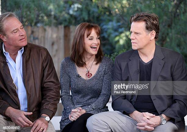 Actors John James Pamela Sue Martin and Al Corley photographed on the set of 'Dynasty' Reunion on 'Home Family' at Universal Studios Backlot on...