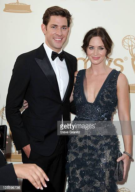 Actors John Krasinski and Emily Blunt arrive to the 63rd Primetime Emmy Awards at the Nokia Theatre LA Live on September 18 2011 in Los Angeles...