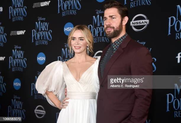 Actors John Krasinski and Emily Blunt attend Disney's 'Mary Poppins Returns' World Premiere at the Dolby Theatre on November 29 2018 in Hollywood...