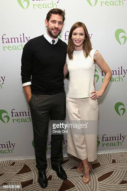 Actors John Krasinski and Emily Blunt attend Family Reach's Cooking Live From New York Emily Blunt John Krasinski join celebrity chefs Ming Tsai and...