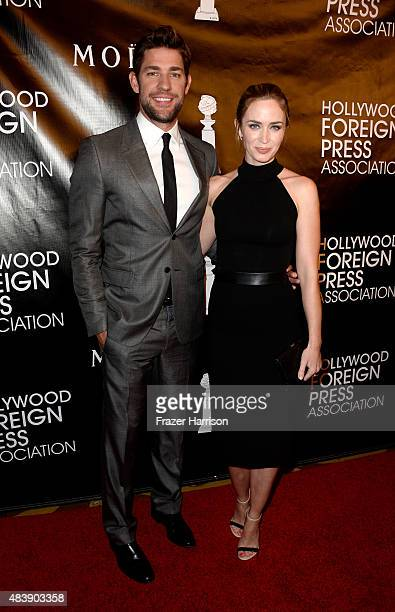 Actors John Krasinski and Emily Blunt attend HFPA Annual Grants Banquet at the Beverly Wilshire Four Seasons Hotel on August 13 2015 in Beverly Hills...