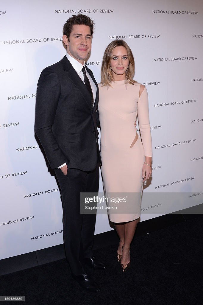 Actors John Krasinski and Emily Blunt attend the 2013 National Board Of Review Awards Gala at Cipriani 42nd Street on January 8, 2013 in New York City.
