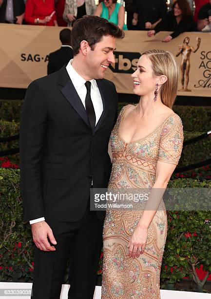 Actors John Krasinski and Emily Blunt attend the 23rd Annual Screen Actors Guild Awards The Shrine Expo Hall on January 29, 2017 in Los Angeles,...
