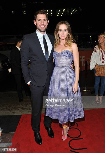 Actors John Krasinski and Emily Blunt attend the Sicario premiere during the 2015 Toronto International Film Festival at Princess of Wales Theatre on...