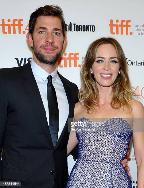 "Actors John Krasinski and Emily Blunt attend the ""Sicario"" premiere during the 2015 Toronto International Film Festival at Princess of Wales Theatre..."