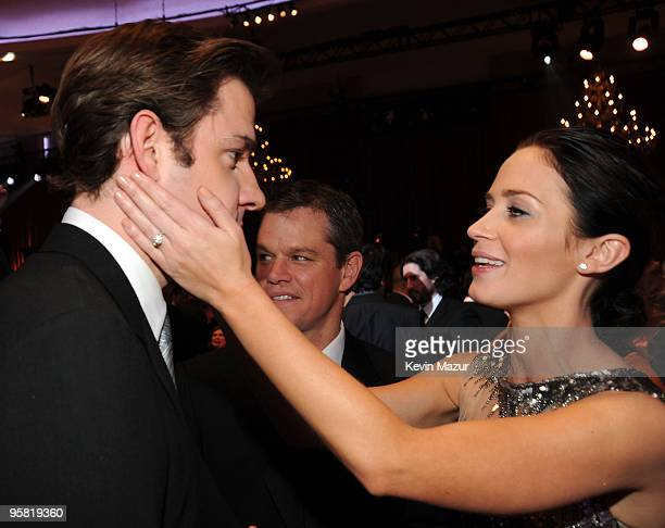 Actors John Krasinski Matt Damon and Emily Blunt during the 15th annual Critics' Choice Movie Awards held at the Hollywood Palladium on January 15...