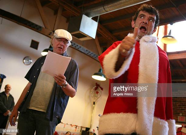 Actors John Larroquette and Stefan Karl perform during the musical rehearsals of Dr Seuss' 'How The Grinch Stole Christmas' at Alley Kat Studios on...