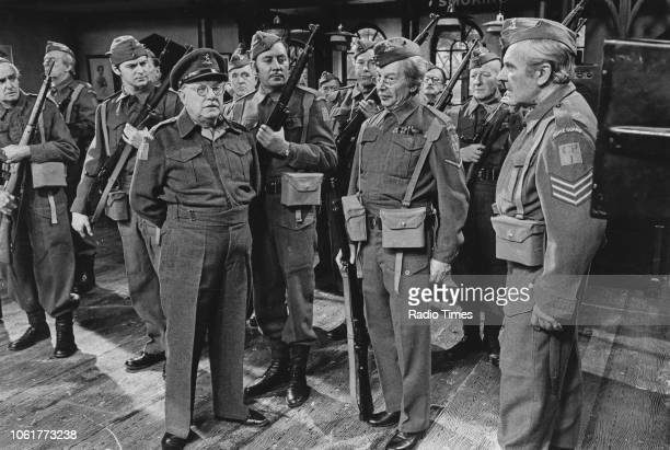 Actors John Laurie Ian Lavender Arthur Lowe James Beck Clive Dunn and John Le Mesurier in a scene from episode 'A Brush with the Law' of the...