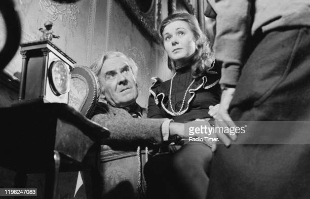 Actors John Le Mesurier and Barbara Flynn in a scene from episode 'The Flight Fund' of the BBC television series 'Centre Play' December 1974