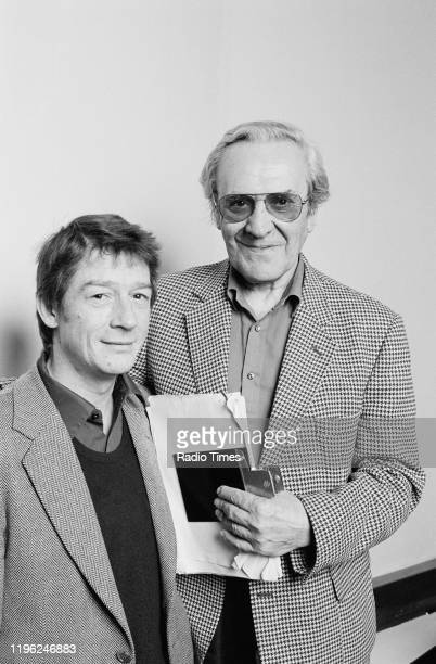 Actors John Le Mesurier and John Hurt for the BBC Radio 4 drama 'Appleby's End' 1982